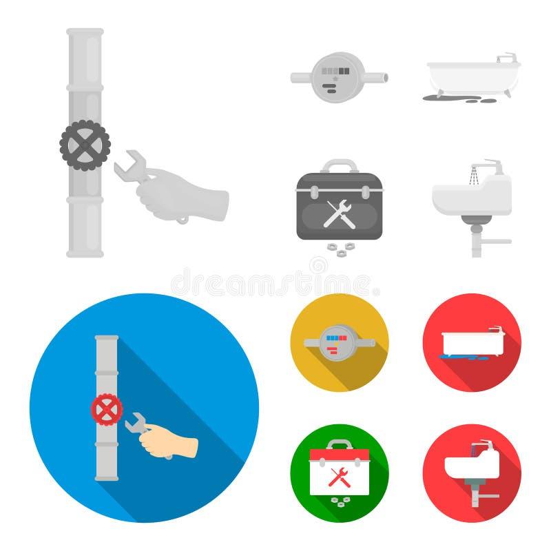 Wasserzähler, Bad und andere Ausrüstung Plombieren von gesetzten Sammlungsikonen einfarbiges, flaches Artvektorsymbolauf lager vektor abbildung