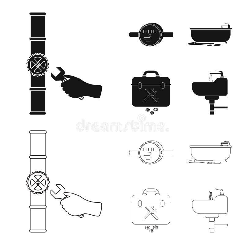 Wasserzähler, Bad und andere Ausrüstung Plombieren von gesetzten Sammlungsikonen im Schwarzen, Entwurfsartvektor-Symbolvorrat stock abbildung