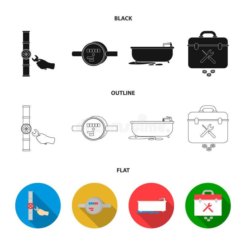 Wasserzähler, Bad und andere Ausrüstung Plombieren von gesetzten Sammlungsikonen in Schwarzem, Ebene, Entwurfsartvektor-Symbolvor stock abbildung