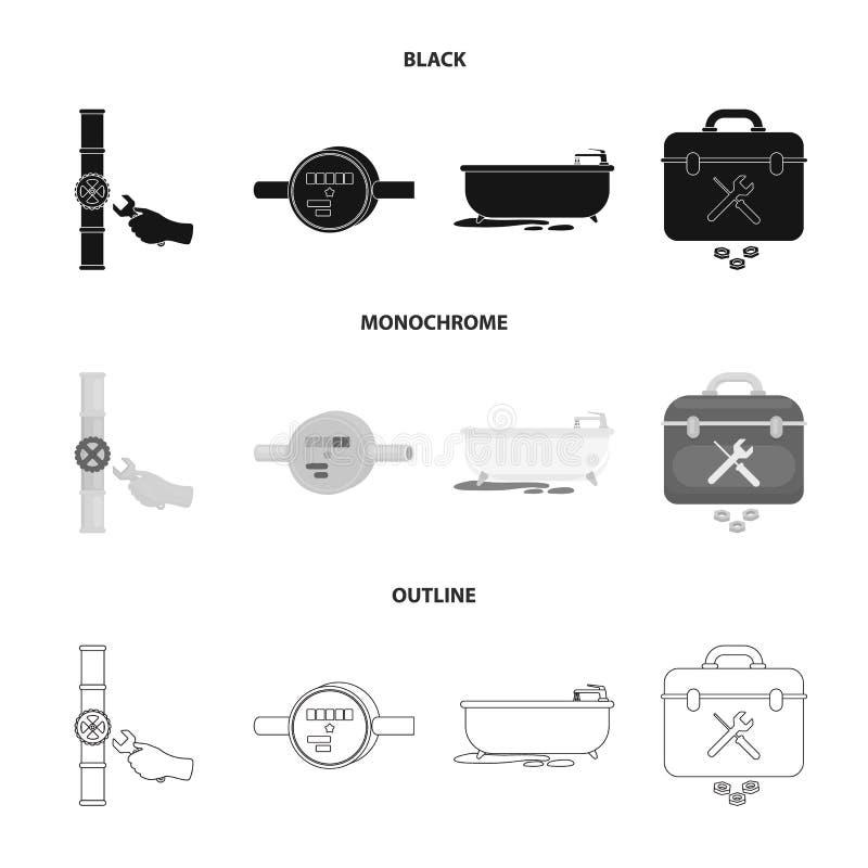 Wasserzähler, Bad und andere Ausrüstung Plombieren von gesetzten Sammlungsikonen in Schwarzem, einfarbig, Entwurfsart-Vektorsymbo vektor abbildung