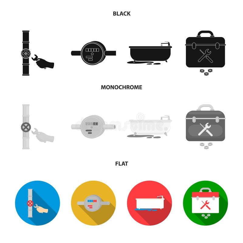 Wasserzähler, Bad und andere Ausrüstung Plombieren von gesetzten Sammlungsikonen schwarzes, flaches, einfarbiges Artvektorsymbola stock abbildung