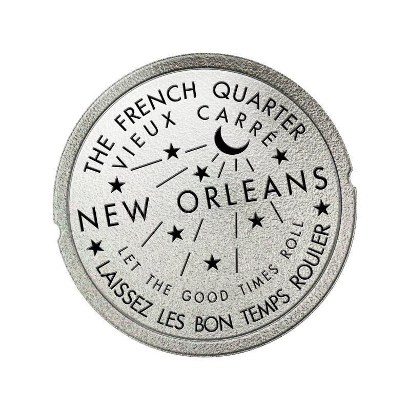 Wasserzähler-Kanalisations-Abdeckung französisches Viertel-New Orleans Louisiana stock abbildung