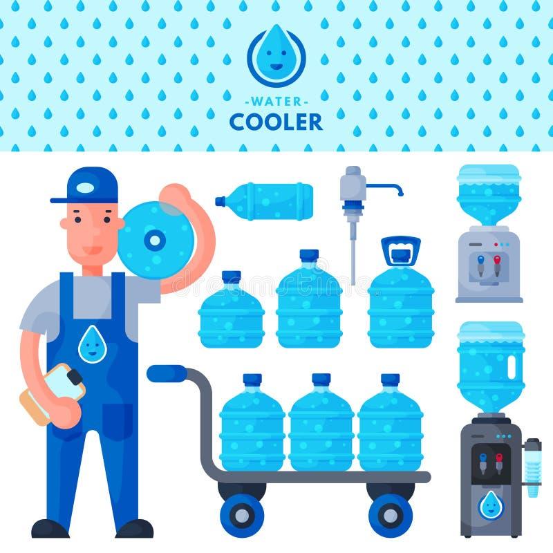 WasserZustelldienst-Manncharakter in der Uniform stock abbildung
