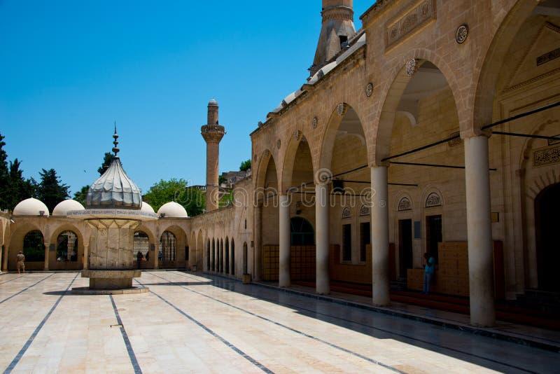 Wassingsfaciliteiten in binnenplaats van moskee mevlid-I Halil Camii, sanliurfa royalty-vrije stock afbeelding