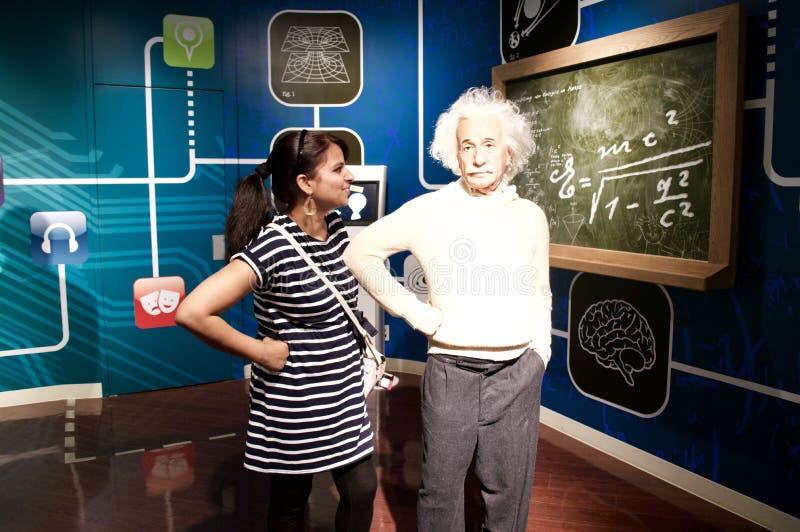 Wasstandbeeld van Albert Einstein bij Mevrouw tussauds Londen stock afbeelding