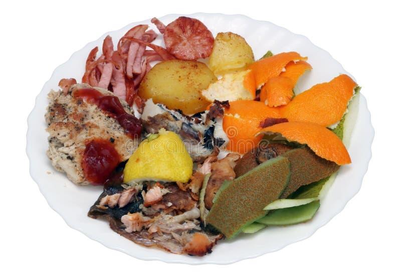 Wast de nourriture d'une table de vacances du ` s de nouvelle année images libres de droits