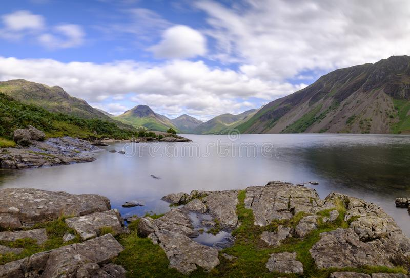Wast Water towards Wasdale and Scafell Pike, Lake District, UK royalty free stock image