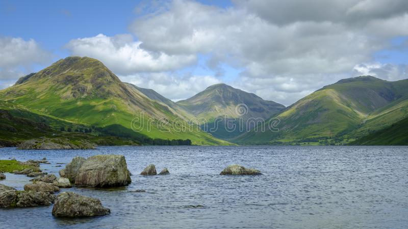 Wast Water towards Wasdale and Scafell Pike, Lake District, UK royalty free stock photos