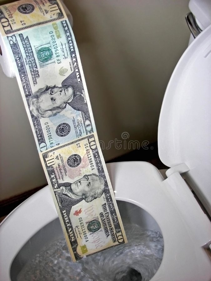 Roll of toilet paper money in toilet. Money being flushed down the toilet stock photography