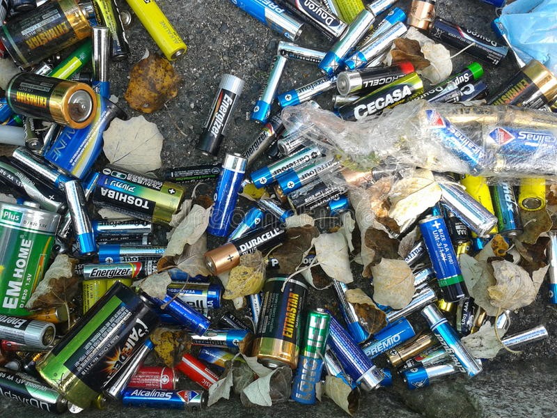 Waste bateries royalty free stock photo