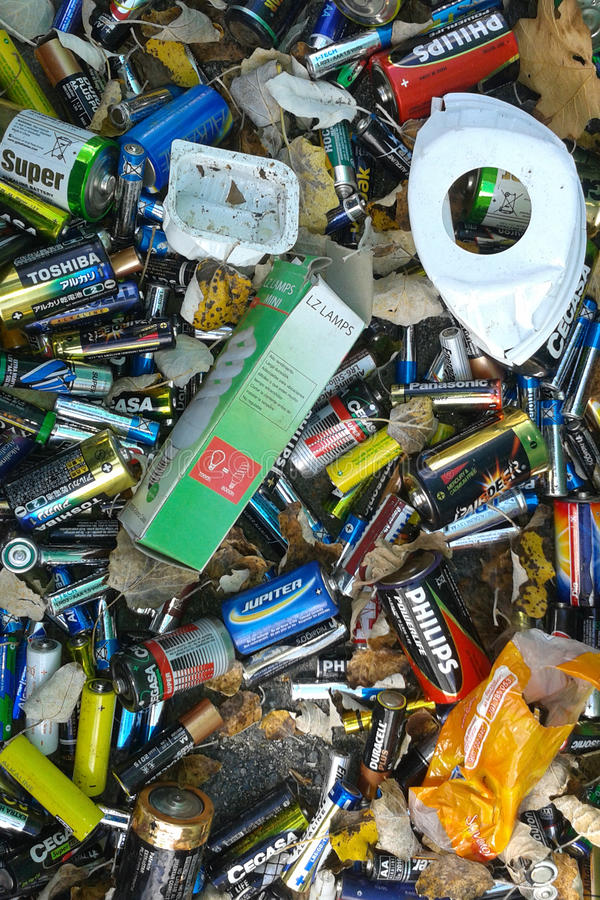 Waste batteries stock photo