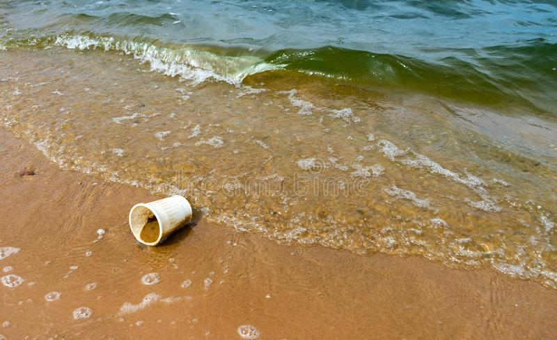 Waste on beach stock image