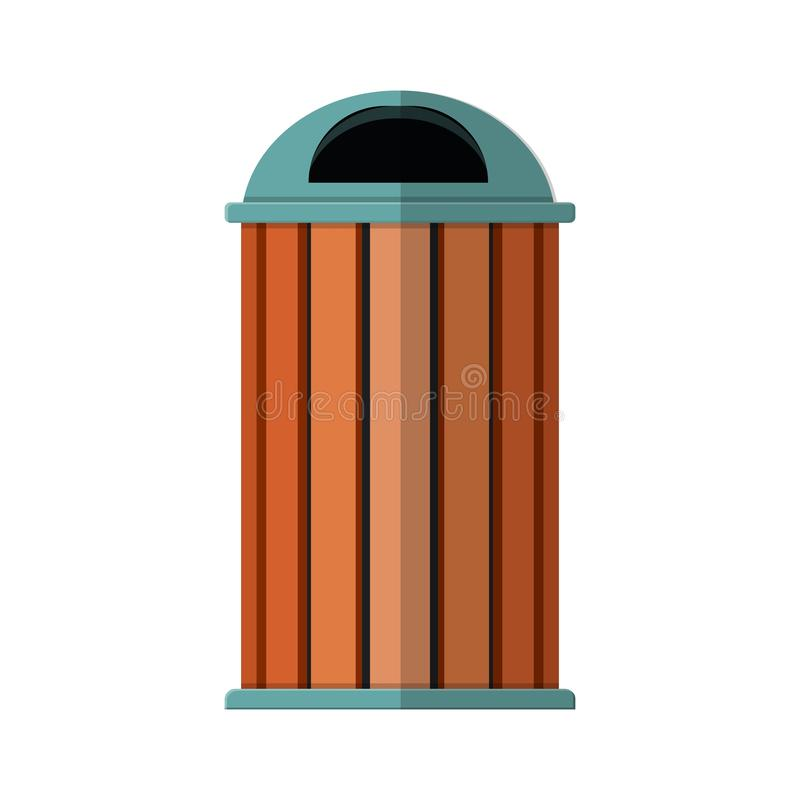 Waste bin icon. Flat isolated on white background. trash can in park icon stock illustration