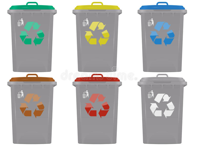Download Waste bins stock vector. Image of brown, cover, recycle - 24632780