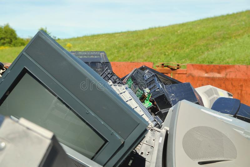 Waste of Broken Electric pieces on dump site. stock photos