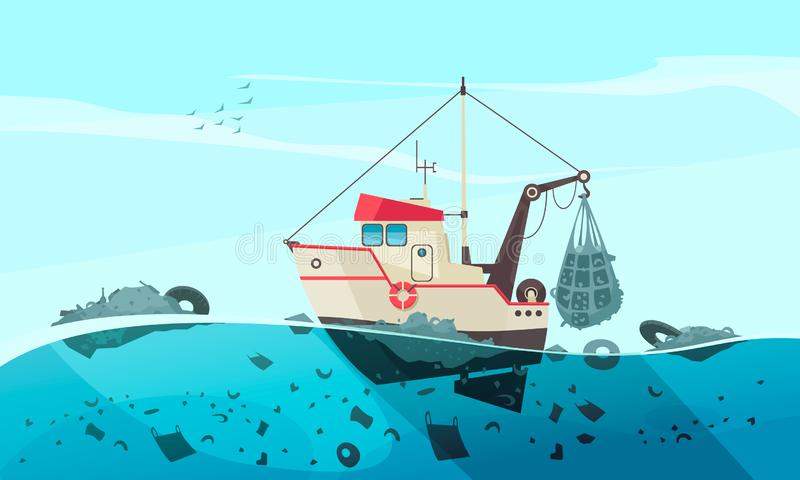 Waste Collecting Vessel Composition stock illustration