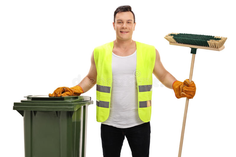 Waste collector with a garbage bin and a broom. Isolated on white background royalty free stock photography