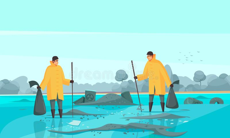 Waste Collectors Water Composition royalty free illustration