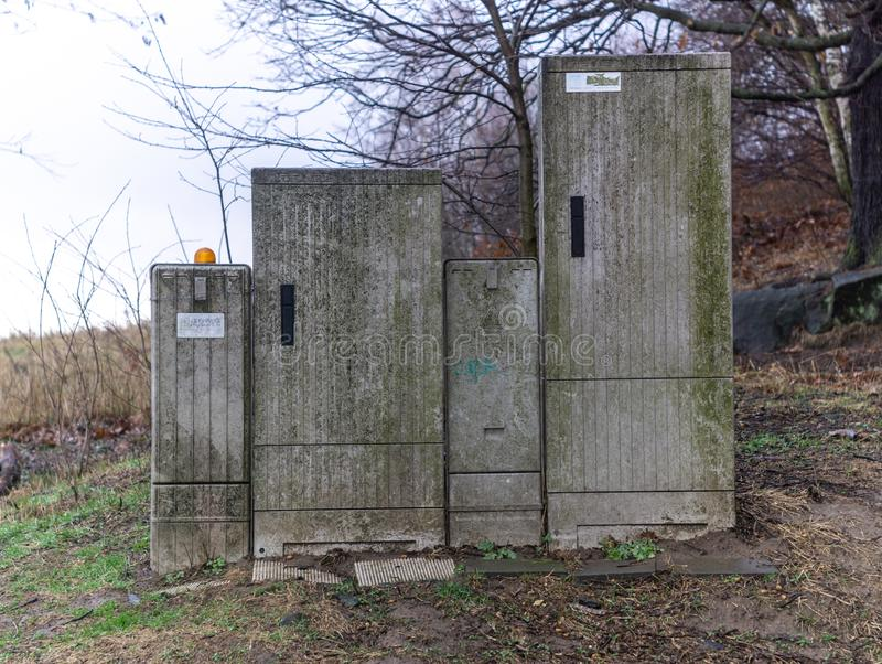 A waste and decay dsl cabinet in the nature. stock images