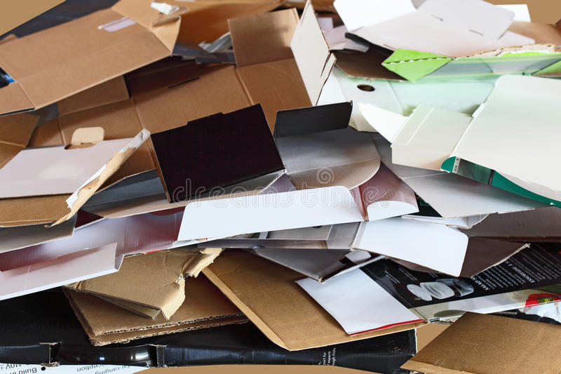 Waste Dumping Boxes. Cardboard Waste Dumping Boxes recyling concept royalty free stock photography