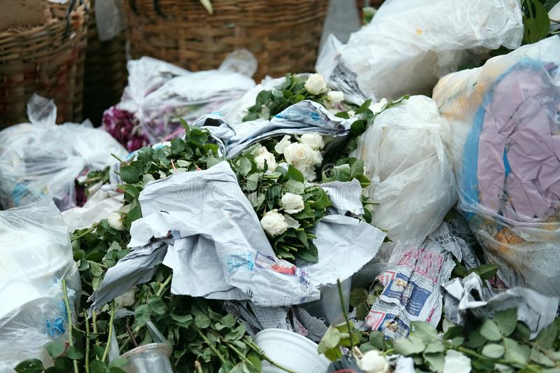 Waste garbage from fresh market at flowers market royalty free stock images