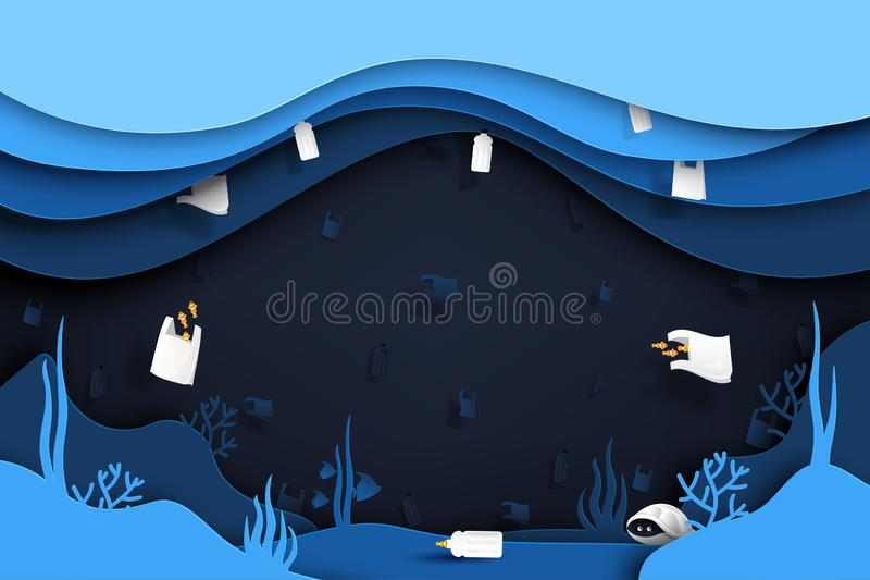 Waste and garbage of plastic product under the sea vector illustration