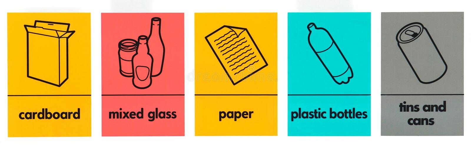 Waste icons. Various waste recycling, collecting signs royalty free illustration