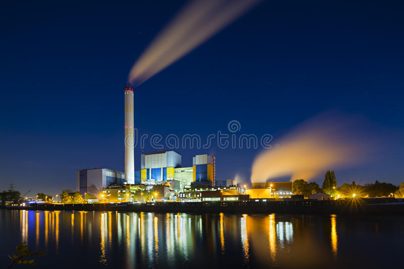 Download Waste Incineration Plant At Night Stock Photo - Image: 83702675