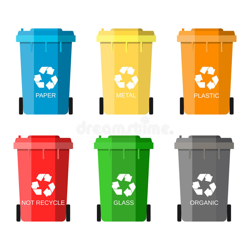 Waste management concept. Waste segregation. Separation of waste on garbage cans. Sorting waste for recycling. Disposal waste. Colored waste bins with trash royalty free illustration