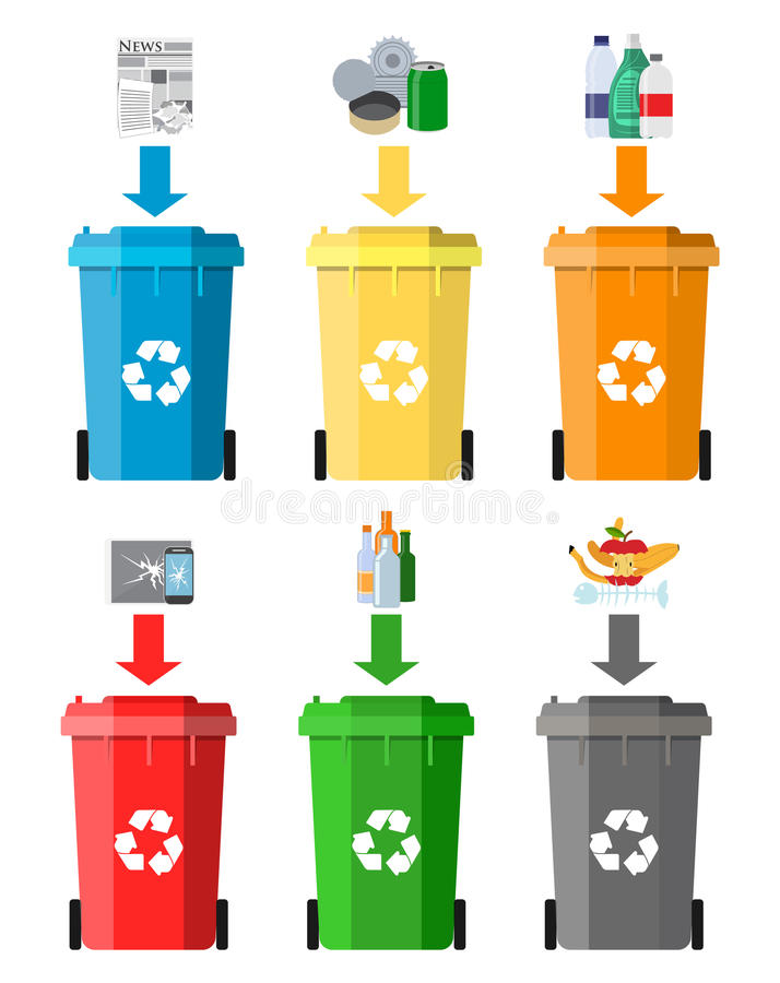 Waste management concept. Waste segregation. Separation of waste on garbage cans. Sorting waste for recycling. Disposal waste. Colored waste bins with trash stock illustration