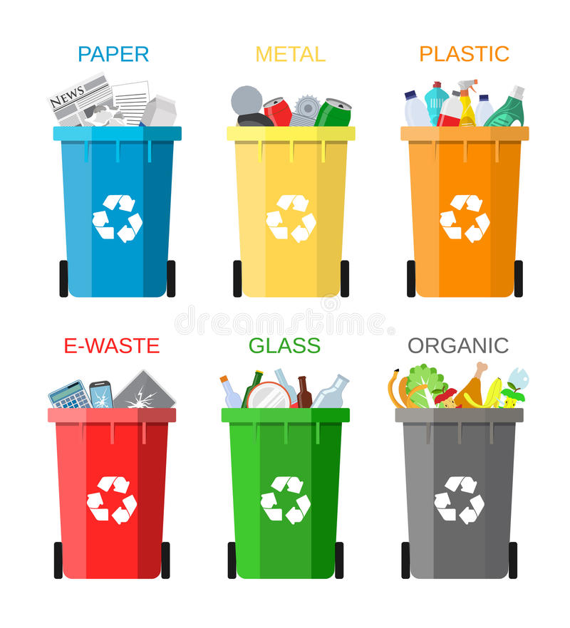 Waste management concept. Waste segregation. Separation of waste on garbage cans. Sorting waste for recycling. Disposal waste. Colored waste bins with trash vector illustration
