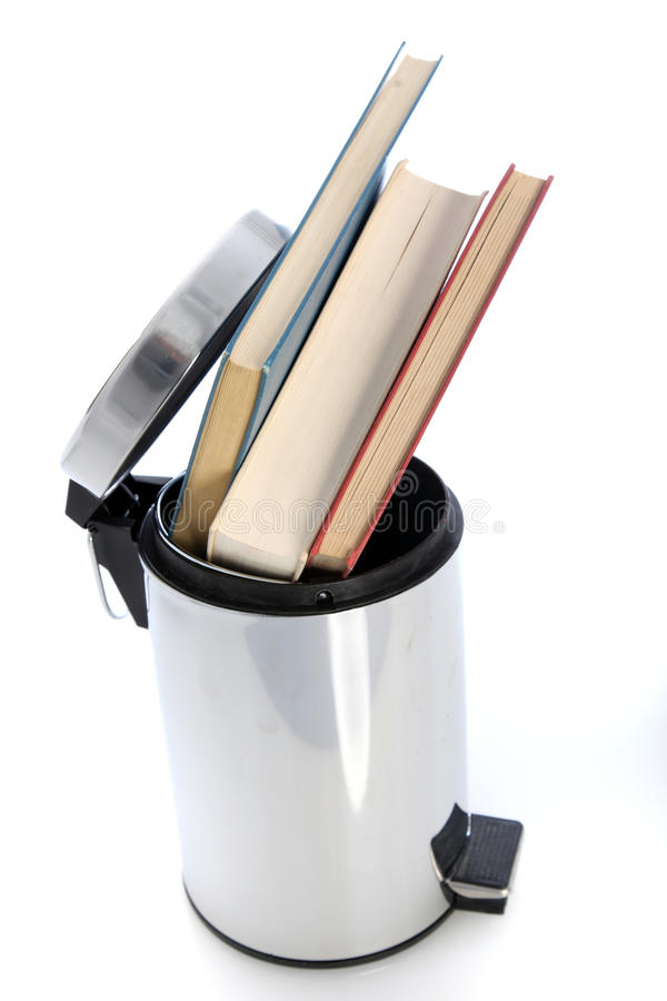 Download Waste Paper Bin Filled With Books Stock Image - Image of waste, full: 26749053