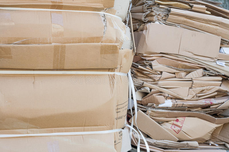 Waste management paper cardboard recycling. Stack of cardboard paper waste ready for recycling stock photos