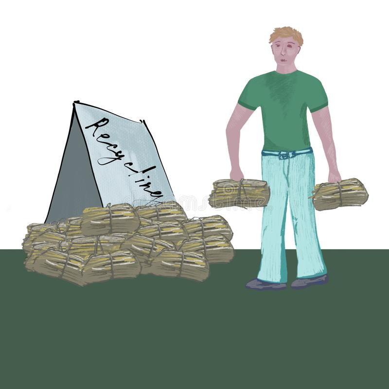 Waste paper for recycling, reception of waste paper. A man carries waste paper for recycling stock illustration