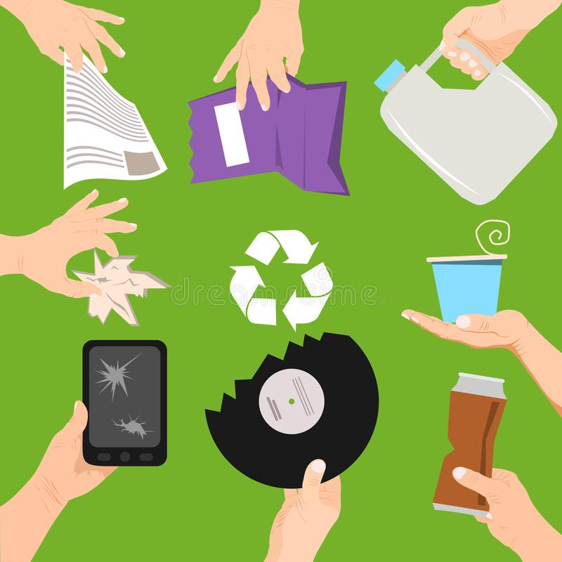 Waste poster concept vector illustration. People holding different types of garbage. Hands with trash such as broken royalty free illustration