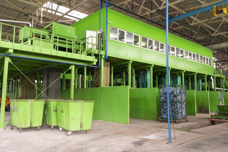 Waste processing plant. Technological process for acceptance, storage, sorting and further processing of waste for their recycling stock photo