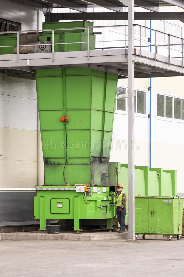 Waste processing plant. Technological process for acceptance, storage, sorting and further processing of waste for their recycling stock image