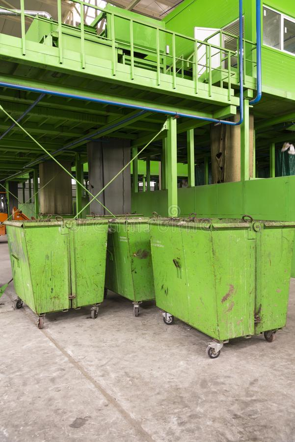 Waste processing plant. Technological process for acceptance, storage, sorting and further processing of waste for their recycling royalty free stock photo