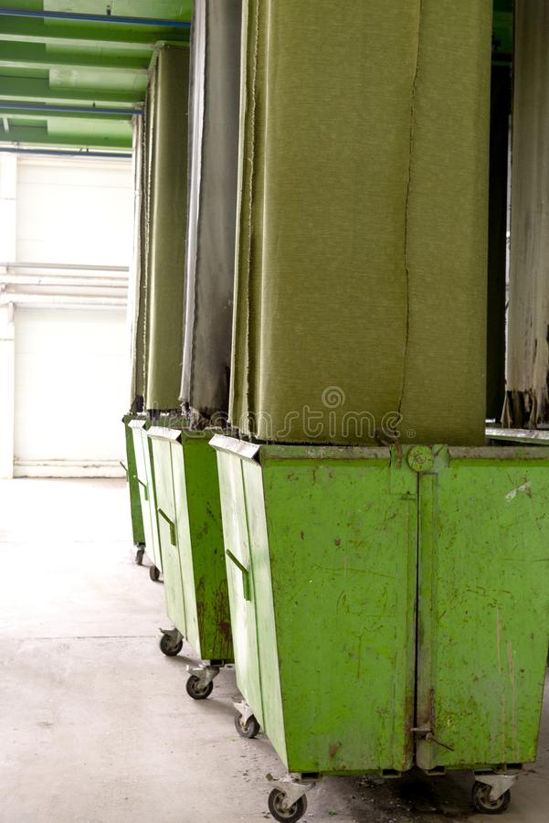 Waste processing plant. Technological process for acceptance, storage, sorting and further processing of waste for their recycling royalty free stock photography