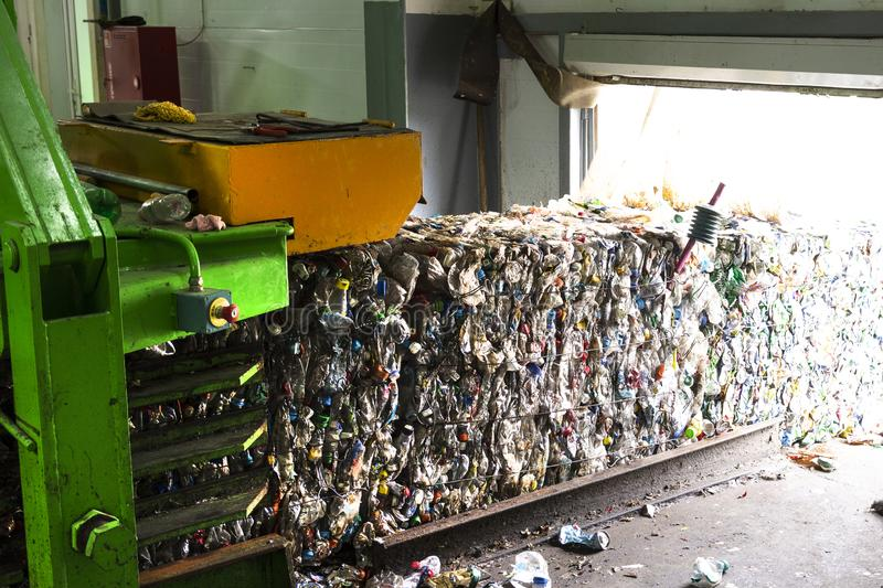 Waste processing plant. Technological process for acceptance, storage, sorting and further processing of waste for their recycling stock images
