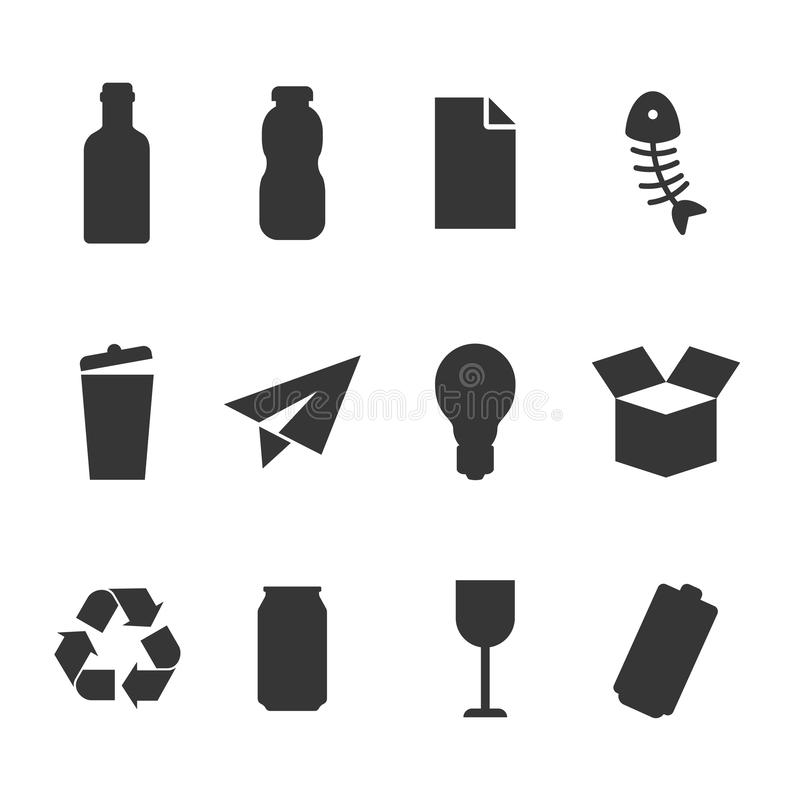 Waste recycle bin for some types of waste icon vector set. Waste recycle bin icon set. Different symbol for types of waste - plastic, cardboard, organic, paper stock illustration