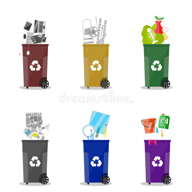 waste recycling categories. Garbage bins vector illustration