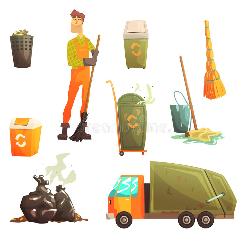 Waste Recycling And Disposal Related Object Around Garbage Collector Man Collection Of Cartoon Bright Icons royalty free illustration