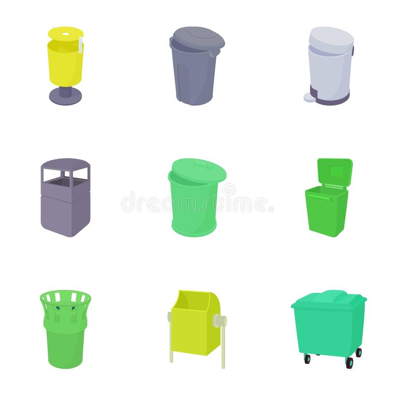 Waste rubbish icons set, cartoon style royalty free illustration
