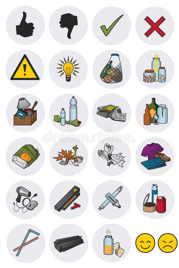 Waste rubbish icons royalty free stock photo