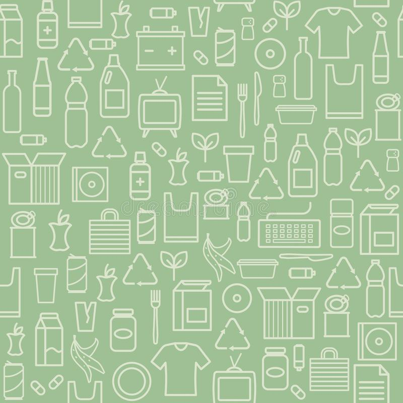 Waste separate collection and recycling pattern vector illustration