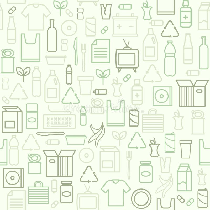 Waste separate collection and recycling pattern royalty free illustration