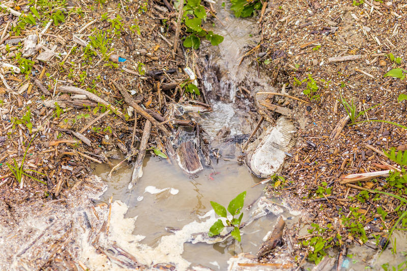 Waste and sewage discharge channel royalty free stock photography