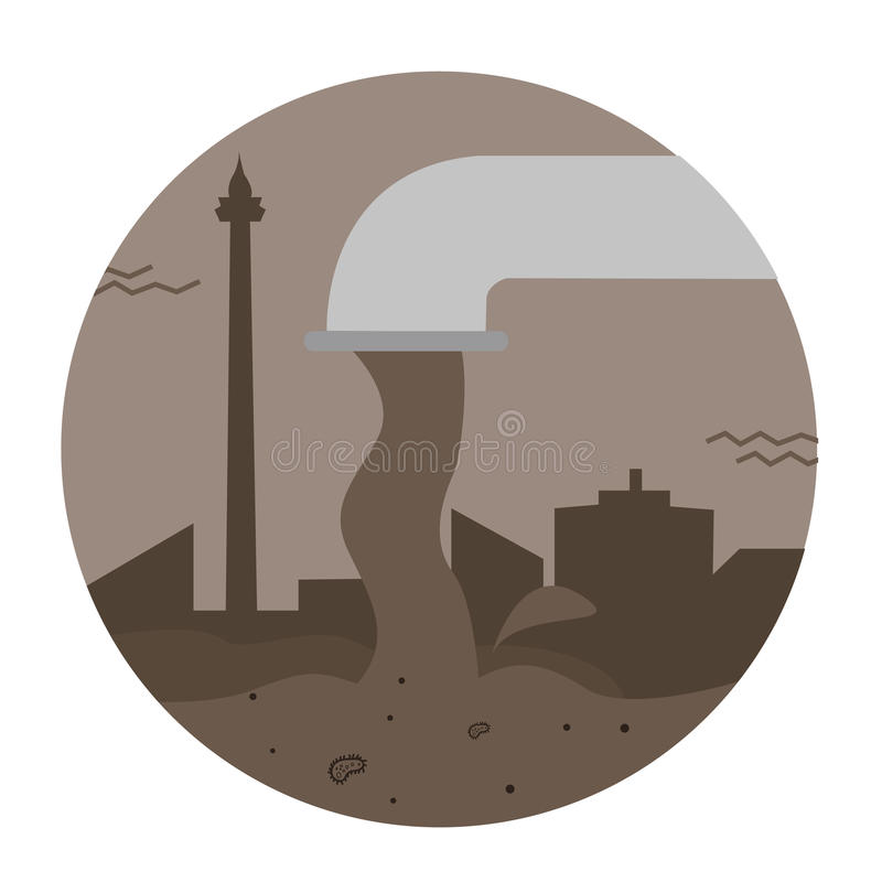 Waste sewage water pollution pipe vector city toxic pouring dirty industrial stock illustration