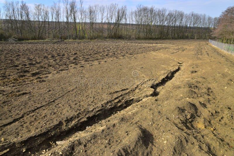 Waste of soil erosion landscape stock photo